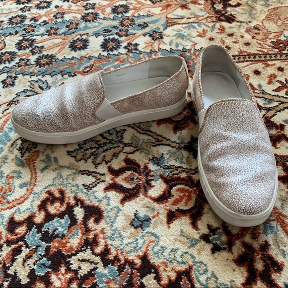 Vince Blair White Crackle Leather Slip-on Sneakers